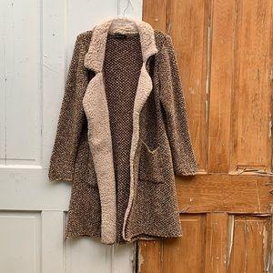 Olyss tweed knit sweater with fleece trim Size L